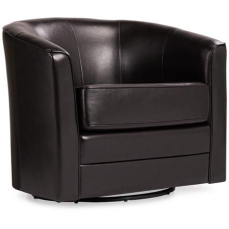 Keller Espresso Bonded Leather Swivel Tub Chair