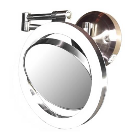 "Satin Nickel Finish CFL 12"" High Wall Mount Plug-In Mirror"