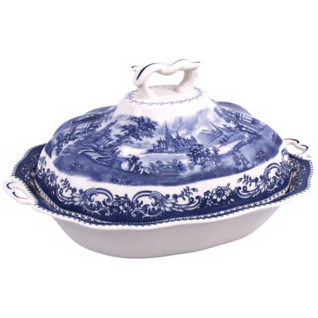 Blue and White Porcelain Tureen with Cover