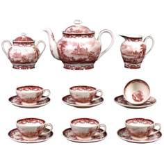 Set of 15 Red and White Porcelain Tea Set
