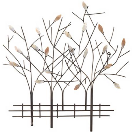 "Trees and Fence 23 1/2"" High Wall Decor"