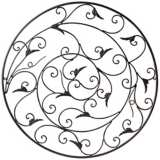 "Black Acanthus Leaf 28"" Round Metal Wall Decor"