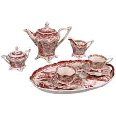Set of 8 Red and White Porcelain Tea