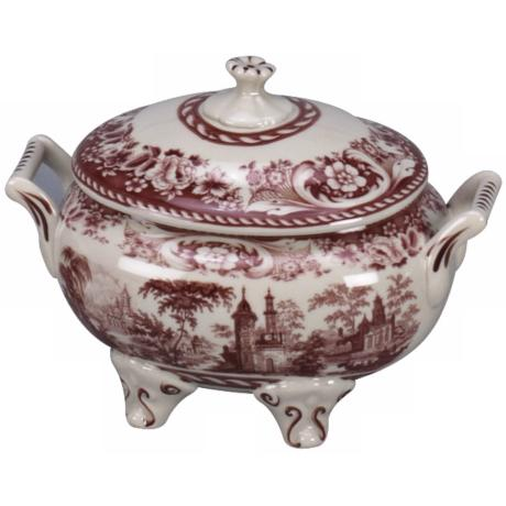 "Red and White Porcelain 10"" Wide Tureen with Lid"