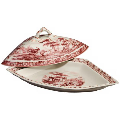 "Red and White Porcelain 13 1/2"" Wide Tureen"