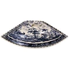 "13 1/2"" Wide Blue and White Porcelain Tureen"