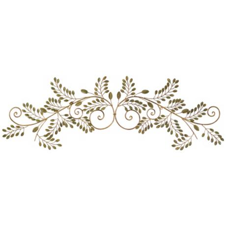 "Laurel Leaves Gold and Green 44"" Wide Metal Wall Decor"