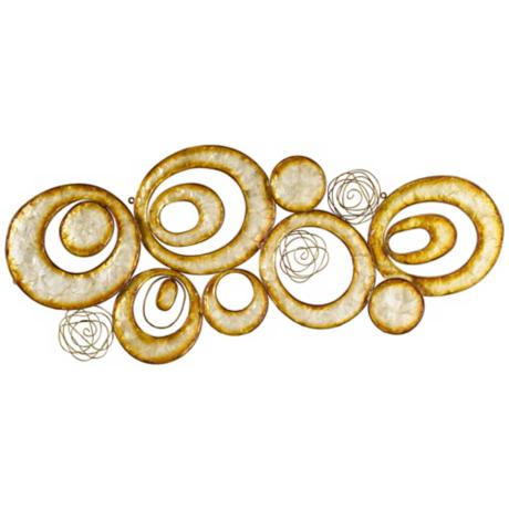 "Capiz Shell Circles 39"" Wide Wall Decor"