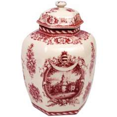 "Red and White Porcelain 10 1/2"" High Jar"