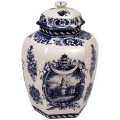 "Blue and White Porcelain 10 1/2"" High Jar"