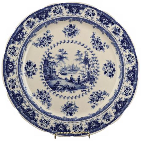 "Blue and White Porcelain 18"" Round Plate"