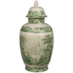 "Green and White Porcelain 16"" High Jar with Lid"