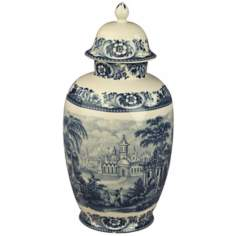 "Blue and White Porcelain 16 1/2"" High Jar with Lid"