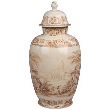"Brown and White Porcelain 16"" High Jar"