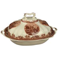 "Brown and White Porcelain 12"" Wide Tureen"