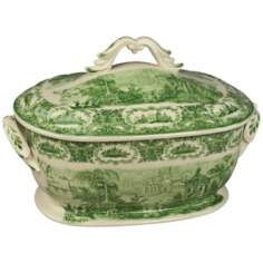 "Green and White Porcelain 14"" Wide Tureen"