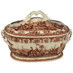 "Brown and White Porcelain 14"" Wide Tureen"