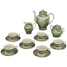 Set of 15 Green and White Porcelain Tea Set