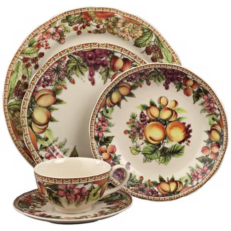 5-Piece Fruit and Flower Porcelain Dinner Place Setting