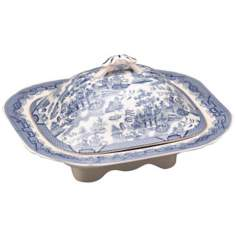 "Blue and White Porcelain 11 3/4"" Wide Tureen with Lid"