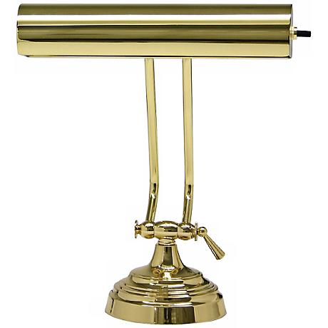 House of Troy Advent Twin Arm Polished Brass Piano Desk Lamp