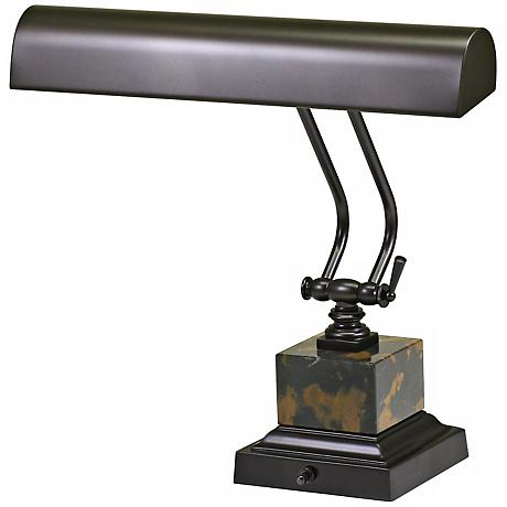 "House of Troy 12"" High Bronze and Marble Piano Desk Lamp"
