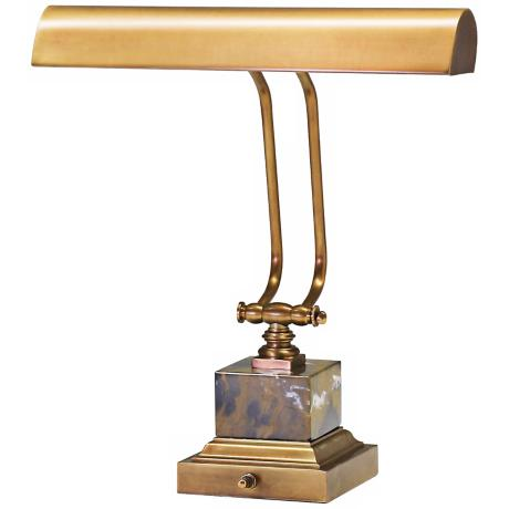 "House of Troy 12"" High Weathered Brass and Marble Piano Lamp"