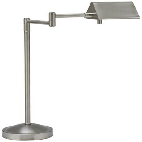 House of Troy Pinnacle Satin Nickel Swing Arm Desk Lamp