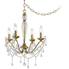 "Sophia Tortoise Shell Gold 19"" Wide Plug-in Swag Chandelier"