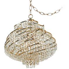 "Lyric Gold and Crystal 15 1/2"" Wide Plug-in Swag Chandelier"