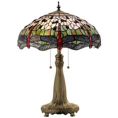 Dragonfly Tiffany Art Glass Table Lamp