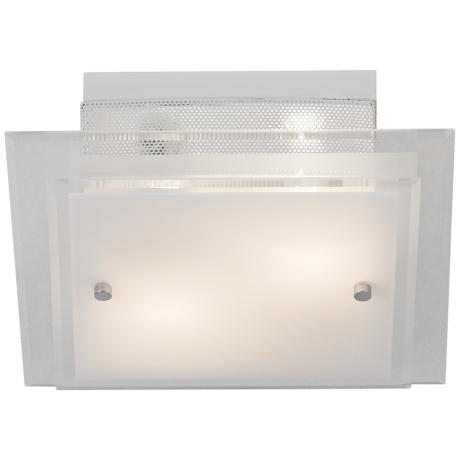 Frosted Glass and Chrome Square Flushmount Ceiling Light