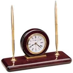 "Howard Miller Rosewood 9 1/4"" Wide Clock and Desk Set"