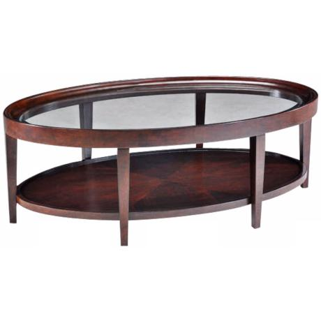 Carson Sienna Finish Oval Cocktail Table