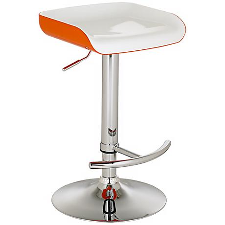 Shift Contemporary Adjustable Orange and White Bar Stool