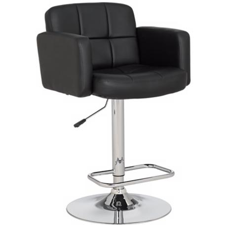Trek Large Adjustable Height Black Bar Stool
