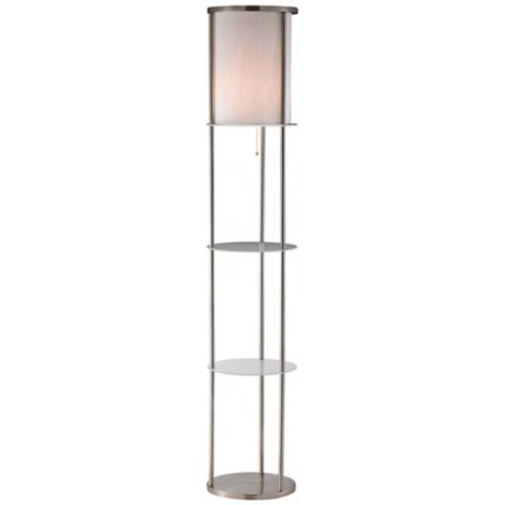 Grayling Satin Steel Shelf Floor Lamp