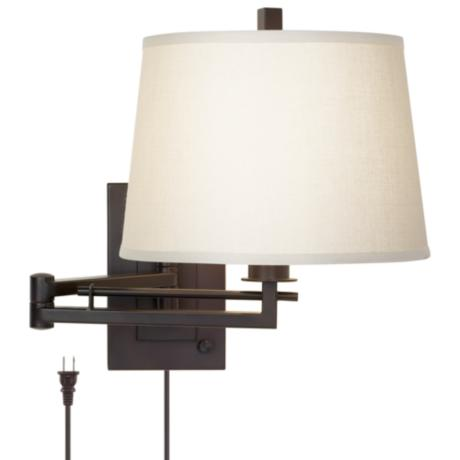 Wall Mounted Bedside Lamp With Plug : Easley Matte Bronze Plug-In Swing Arm Wall Light - #R4625 LampsPlus.com