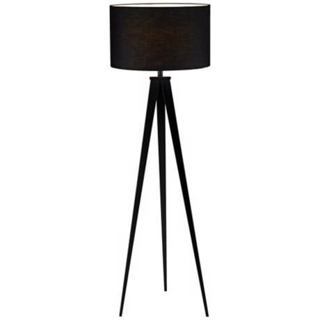 "Black Finish Tripod 65 1/2"" High Floor Lamp"