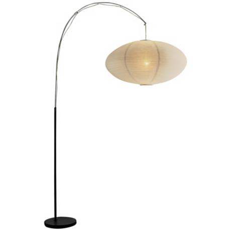 Black and Chrome Finish White Paper Shade Floor Lamp