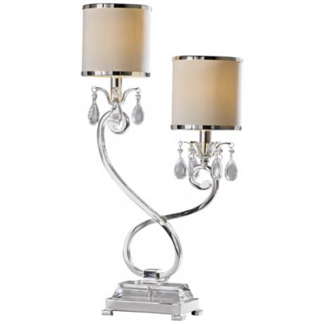Raschella Silver and Crystal 2- Light Accent Table Lamp