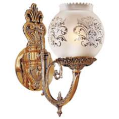 "Metropolitan Collection Etched Glass 12"" High Wall Sconce"