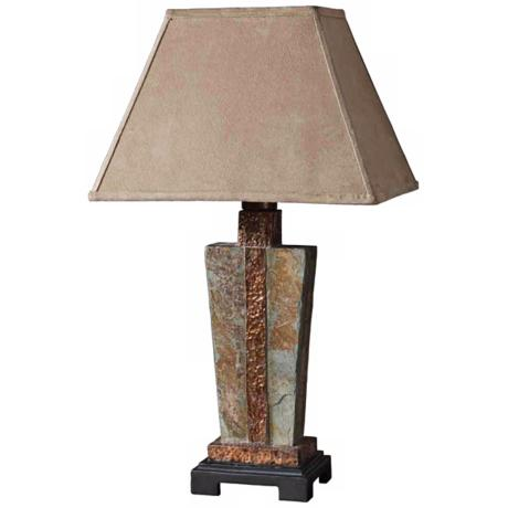 Uttermost Slate & Copper Indoor-Outdoor Table Lamp