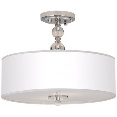 "16"" Wide White and Chrome Semi Flush Ceiling Light"