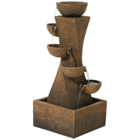 "Cascading Bowls 27 1/2"" High Indoor-Outdoor Water Fountain"
