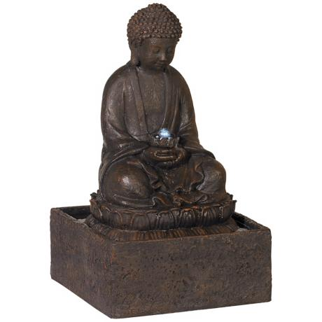 "Meditating Buddha 19"" High Solar LED Fountain"