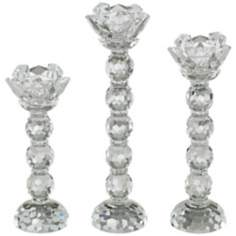 Set of 3 Clear Crystal Taper Candle Holders