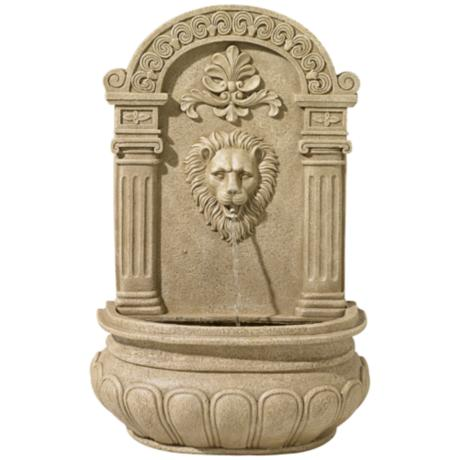 Sand Finish Lion Face Wall Fountain
