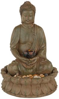 Meditating Buddha Antique Bronze LED Lighted Fountain (R6054)