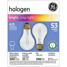 GE 53 Watt 2-Pack General Purpose Halogen Light Bulbs